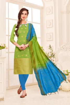 Light-green embroidered banarasi cotton salwar