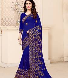 Royal blue embroidered georgette saree with blouse