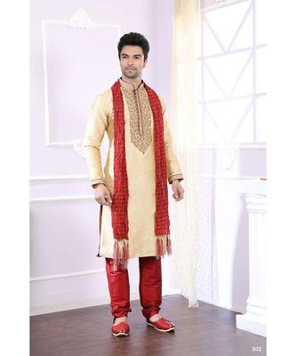 Gold printed cotton kurta pajama