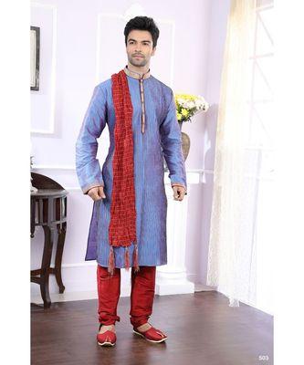 blue printed art silk kurta pajama