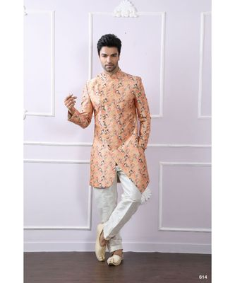 orange printed art silk kurta pajama