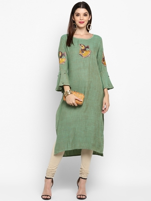 Parrot-green plain rayon ethnic-kurtis