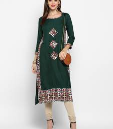 Green plain rayon ethnic-kurtis