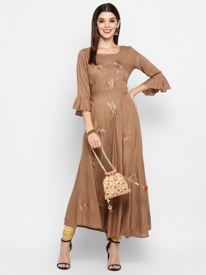 Light-brown plain rayon ethnic-kurtis