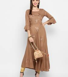 Light-brown plain rayon ethnic-kurtis