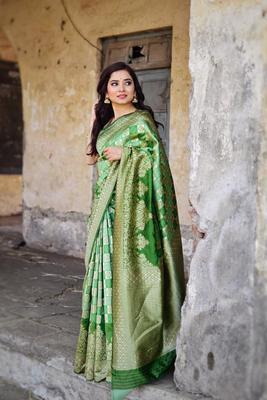 Green color  Banarasi silk saree