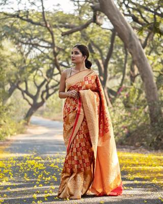 Orange color Banarasi Silk Saree