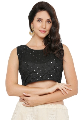 Women's Black Cotton Silk Readymade Saree Blouse