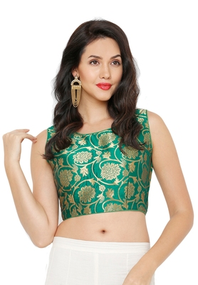 Women's Green Cotton Silk Readymade Saree Blouse