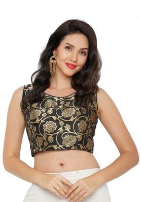 Women's Black Cotton Silk Readymade Saree Blouse