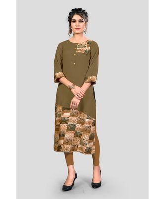 Mehendi Green Color Printed Rayon Straight Kurti