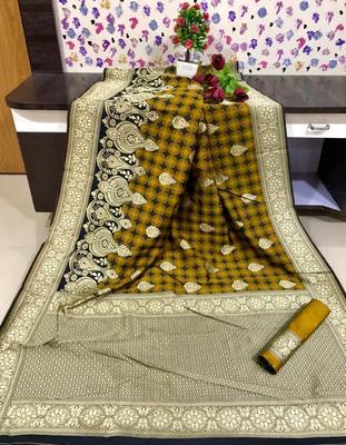 Yellow color Banarasi silk saree