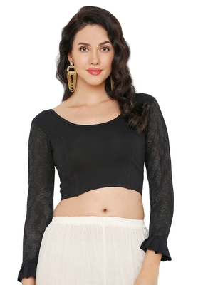 Women's Black Cotton Lycra Readymade Streachable Saree Blouse