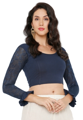 Women's Navy Blue Cotton Lycra Readymade Streachable Saree Blouse