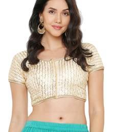 Women's Light Gold Cotton Silk Readymade Saree Blouse