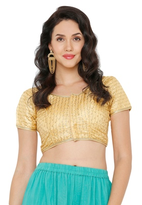 Women's Dark Gold Cotton Silk Readymade Saree Blouse