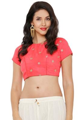 Women's Peach Cotton Silk Readymade Saree Blouse