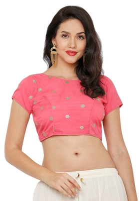 Women's Pastel Peach Cotton Silk Readymade Saree Blouse