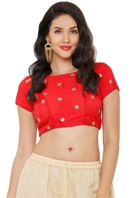 Women's Red Cotton Silk Readymade Saree Blouse