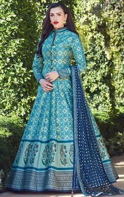 Partywear Designer Firozi Heavy Soft Killer Silk Salwar Suit
