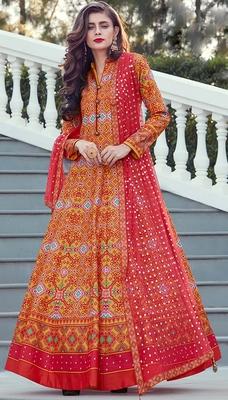 Partywear Designer Orange Heavy Soft Killer Silk Salwar Suit