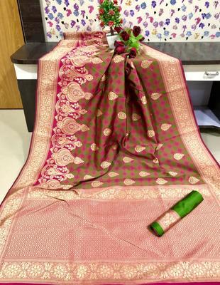 Pink and Green color Banarasi silk saree