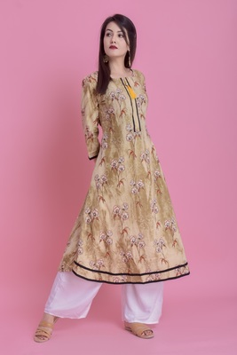 Olive Green Jaipur Printed Cotton Embroidered A-Line Long Kurta