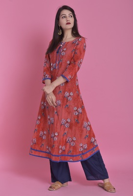 Red Jaipur Printed Cotton Embroidered A-line Long Kurta