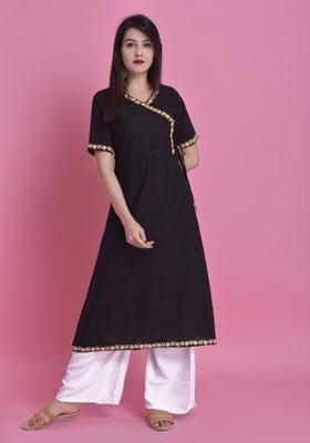 Black Ari Embroidered Cotton Slub Anghrakha Long Kurta