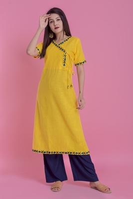 Yellow Ari Embroidered Cotton Slub Anghrakha Long Kurta