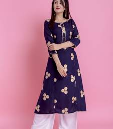 Navy Blue Gold Printed Rayon Emblished A-Line Long Kurta