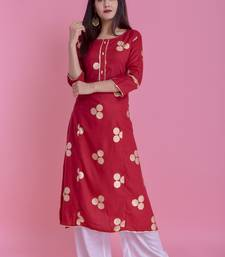Maroon Gold Printed Rayon Emblished A-Line Long Kurta