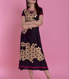 Black Gold Printed Rayon Emblished A-Line Long Kurta
