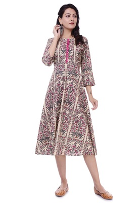 Pink Jaipur Printed Cotton A-Line Kurta