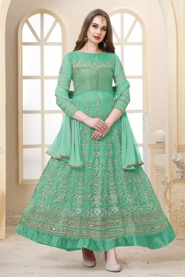 sea green embroidered net semi stitched salwar with dupatta