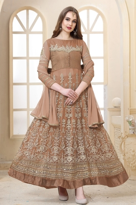 Light coffee  embroidered net semi stitched Anarkali with dupatta