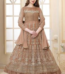 Light coffee  embroidered net semi stitched Anarkali suit