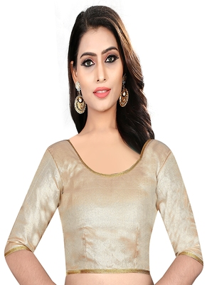 Cream colored embroidered  two tone silk stitched blouse