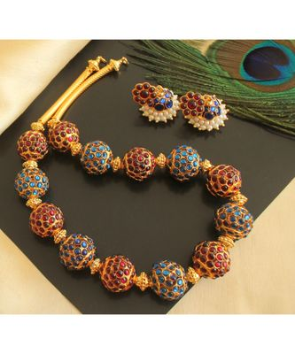 Beautiful Kemp Blue Rudhra Balls Designer Necklace Set