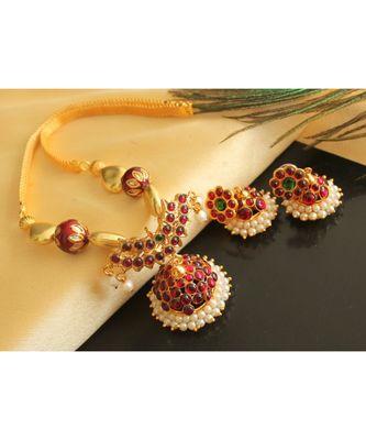 Beautiful Kemp Green Jhumka Designer Pendant Necklace Set