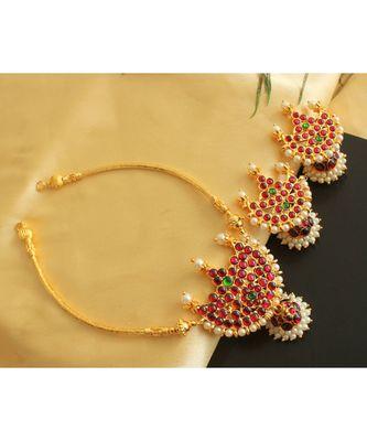 Beautiful Gold Tone Kemp Green Moon Designer Necklace Set