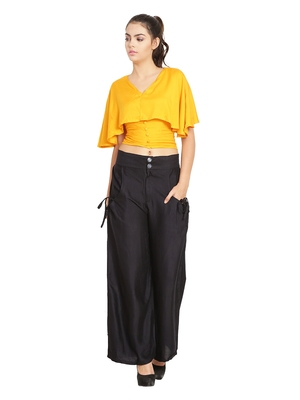 Black Color Palazzo pant with pocket and button