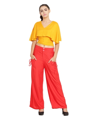 Red Color Palazzo Pant with pocket and button