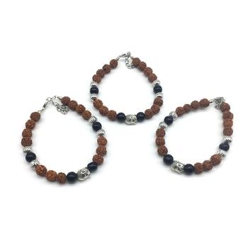 (Set of 3) Rudraksha Designer Rakhi for Men Silver Black Bead Buddha Charm Link Chain Adjustable Rakhi