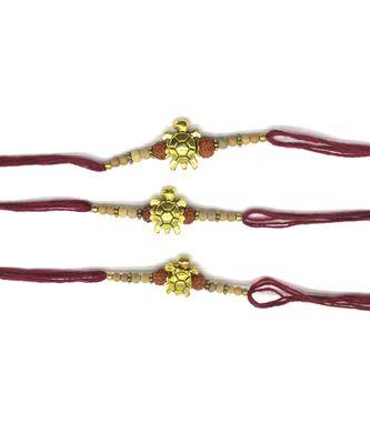 (Set of 3) Tortoise Designer Rakhi Set for Men Gold Plated Rudraksha Tulsi Beads Maroon Thread Rakhi