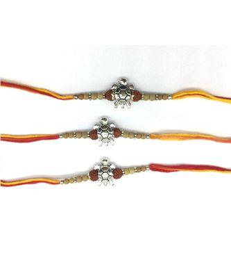 (Set Of 3) Tortoise Designer Rakhi For Men Silver Plated Rudraksha Tulsi Beads Multicolor Thread Rakhi