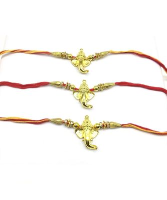 (Set of 3) Designer Rakhi for Men Gold Plated Ganpati Bappa with Bead Multicolor Thread Rakhi(Pack of 3)