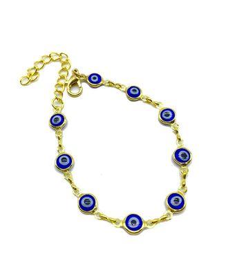 Blue Evil Eye Rakhi For Men Gold Plated Charm Link Chain Adjustable Rakhi