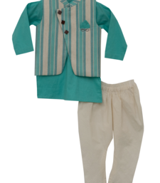 Aqua Blue Kurta With Printed Nehru Jacket Set