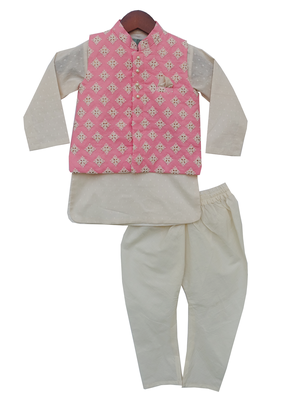 Pink Embroidery Nehru Jacket With Kurta And Churidar